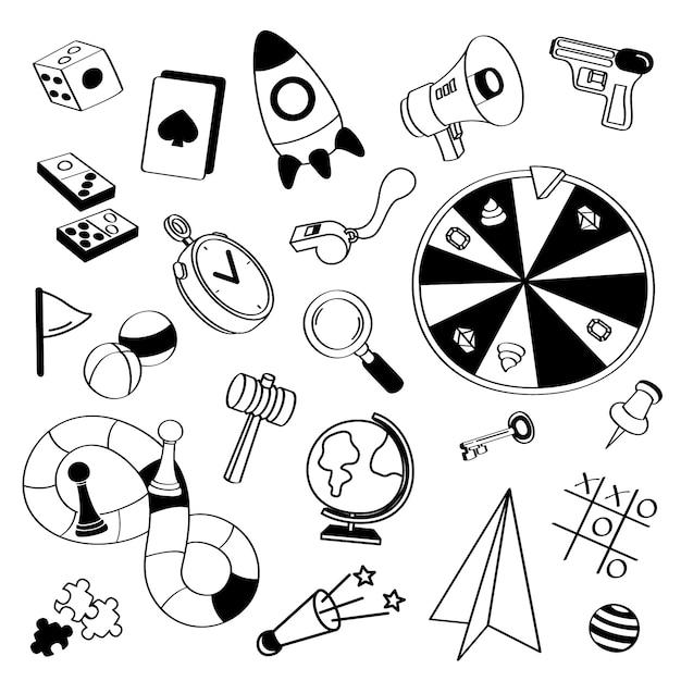 Insieme di scarabocchi di giochi disegnati a mano Vettore Premium