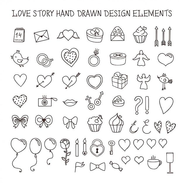 Insieme di scarabocchio degli elementi di progettazione disegnati a mano di storia d'amore. illustrazione vettoriale vintage Vettore Premium