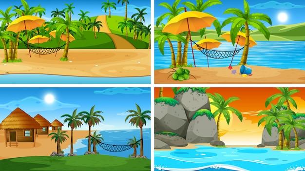 Insieme di scene di natura oceano tropicale con spiagge Vettore gratuito