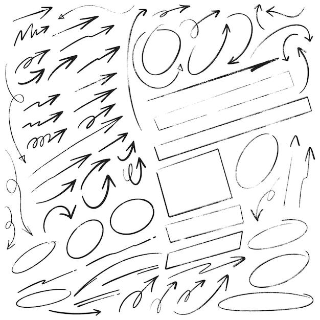 Insieme di scrittura di doodle disegnato a mano cerchi e rettangoli di frecce Vettore Premium