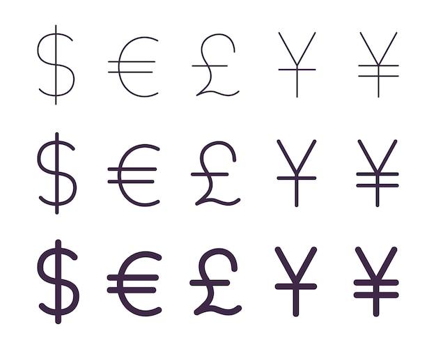 Insieme di segni di valuta Vettore Premium