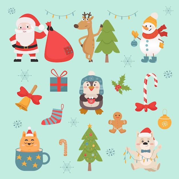Insieme di simboli e illustrazioni animali celebrazione di capodanno Vettore Premium