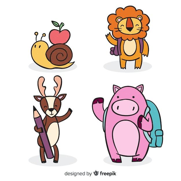 Insieme di simpatici animali disegnati a mano Vettore gratuito