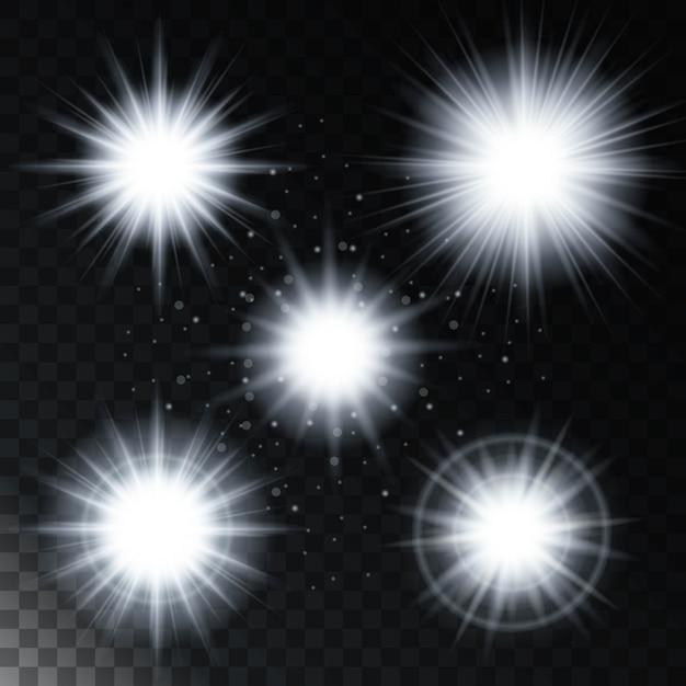 Insieme di stelle effetto luce incandescente, le luci del sole con scintillii Vettore Premium