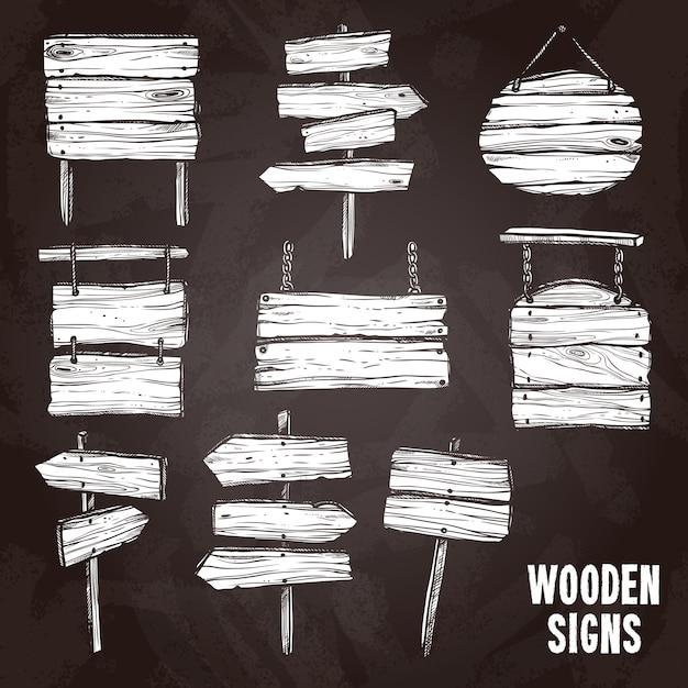 Insieme di stile della lavagna dei segni di legno Vettore gratuito