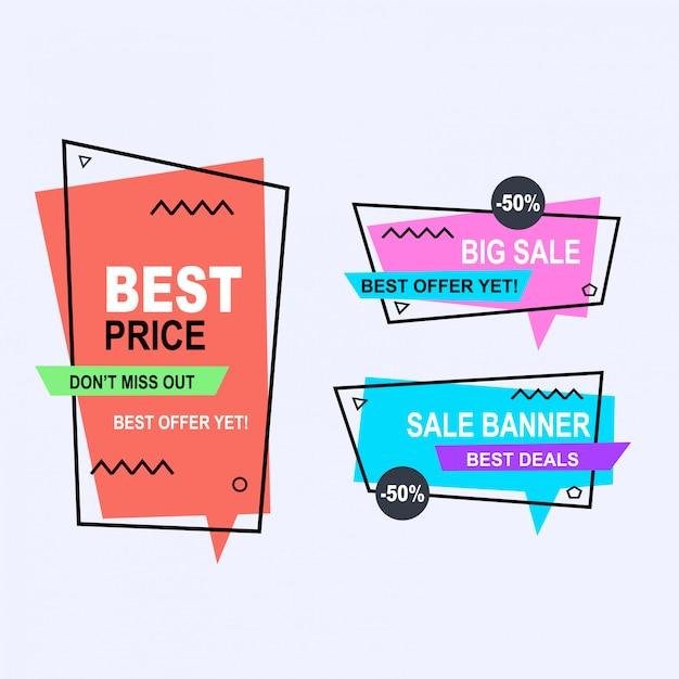 Insieme di stile di banner di vettore memphis geometrica piana. etichetta di prezzo di offerta di sconto, vendita promozionale di vendita Vettore Premium
