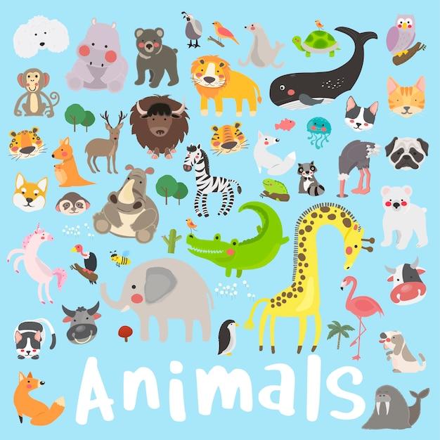 Insieme di stile di disegno dell'illustrazione di fauna selvatica Vettore gratuito