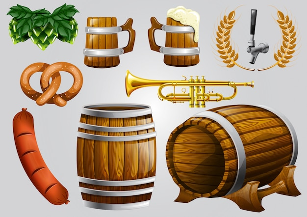 Insieme di stock di elemento realistico birra elemento Vettore Premium