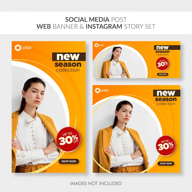 Insieme di storia di social media post web banner e instagram Vettore Premium