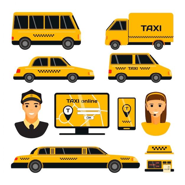Insieme di trasporto del taxi di giallo della strada di città Vettore Premium