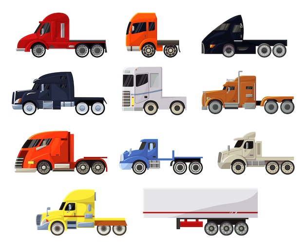 Insieme di trasporto dell'illustrazione di trasporto del carico di consegna di trasporto del veicolo di vettore del camion del rimorchio dei semi dell'insieme dell'icona isolato trasporto dell'autotreno del camion del trasporto di camion Vettore Premium
