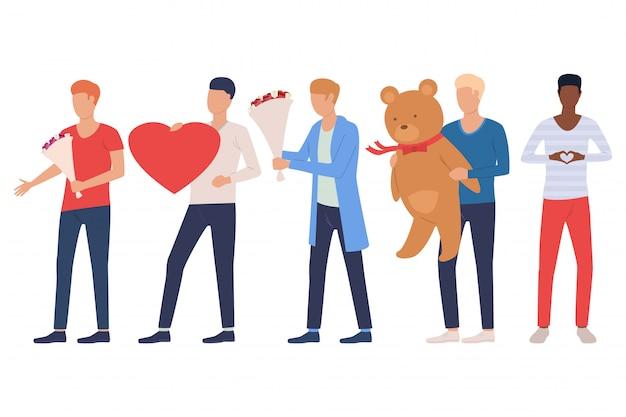 Insieme di uomini che vanno insieme. ragazzi che tengono il cuore Vettore gratuito