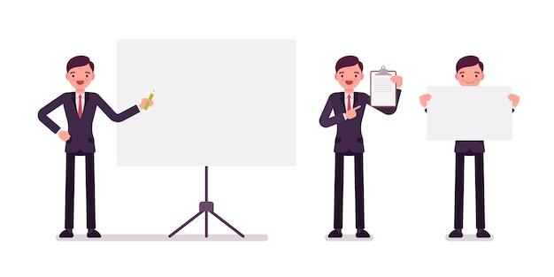 Insieme di uomini d'affari in abbigliamento formale con cornici per copyspace Vettore Premium