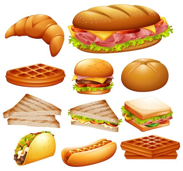 Insieme di vari alimenti Vettore Premium