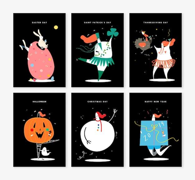 Insieme di vari caratteri di vacanza illustrazione Vettore gratuito