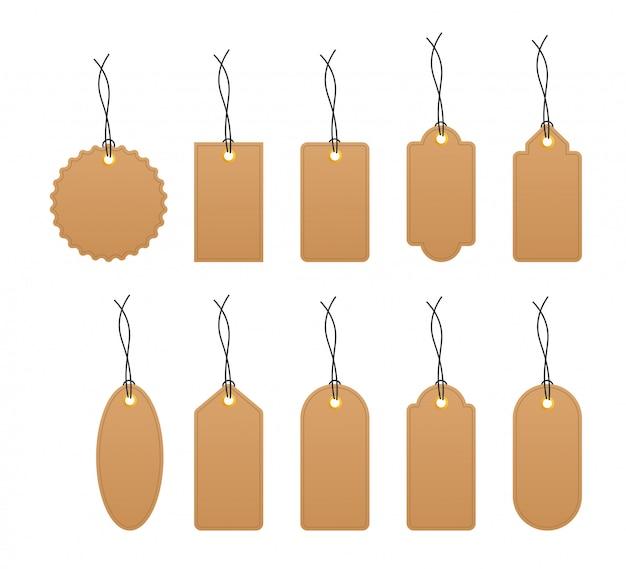 Insieme di varie etichette di carta bianca vuota Vettore Premium