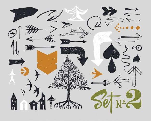 Insieme di varie frecce tipografiche Vettore Premium