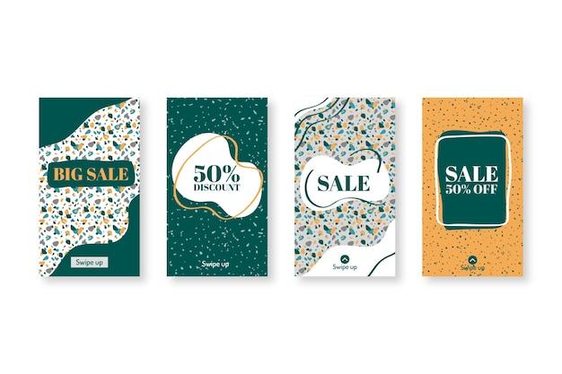 Insieme di vendita instagram stile terrazzo disegnato a mano Vettore gratuito