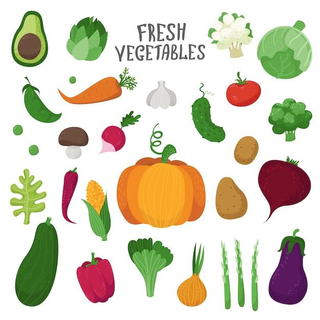 Insieme di verdure in stile cartone animato Vettore Premium