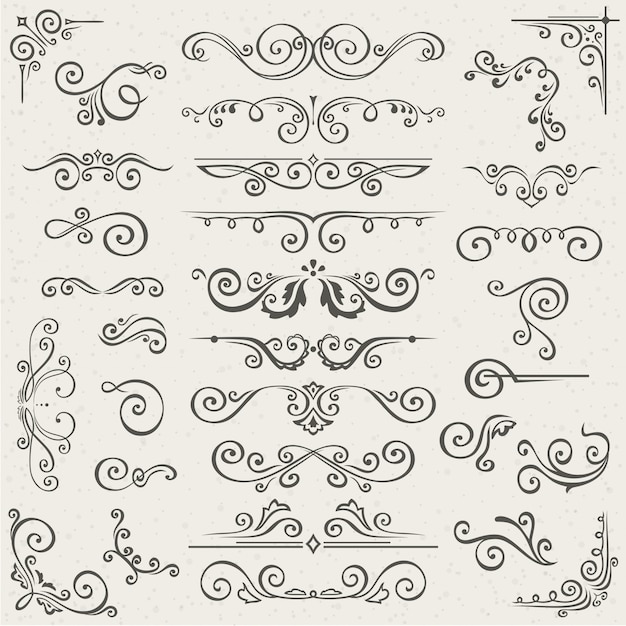 Insieme di vettore degli elementi della decorazione della pagina calligrafica di turbinio Vettore Premium
