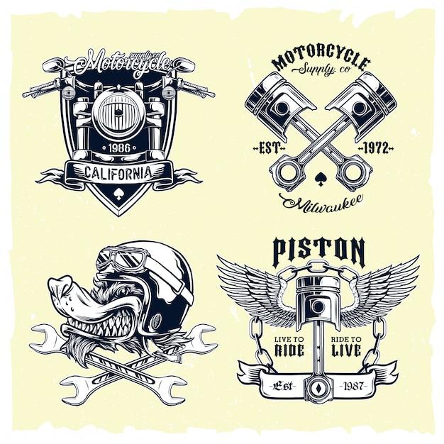 Insieme di vettore degli emblemi classici del motociclo Vettore Premium
