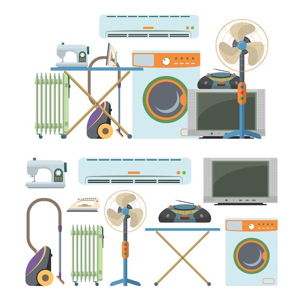 Insieme di vettore degli oggetti di elettronica domestica isolati. elettrodomestici. lavatrice, aspirapolvere, aria condizionata, tv, radiatore, riscaldamento Vettore Premium
