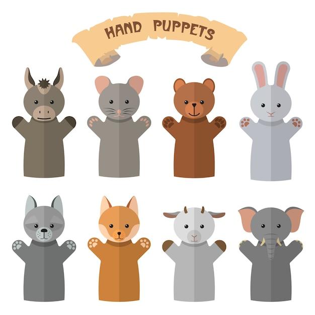 Insieme di vettore dei burattini di mano in stile piano. guanti da bambola con animali diversi. Vettore Premium