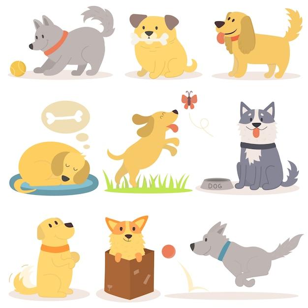 Insieme di vettore dei cartoni animati divertenti cani illustrazione in stile piano Vettore Premium