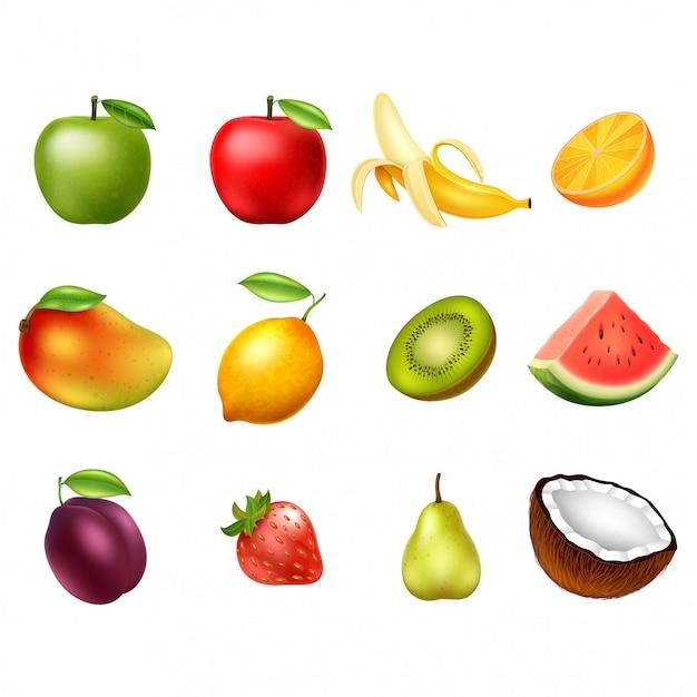Insieme di vettore dei frutti isolato su priorità bassa bianca. elementi di design Vettore Premium