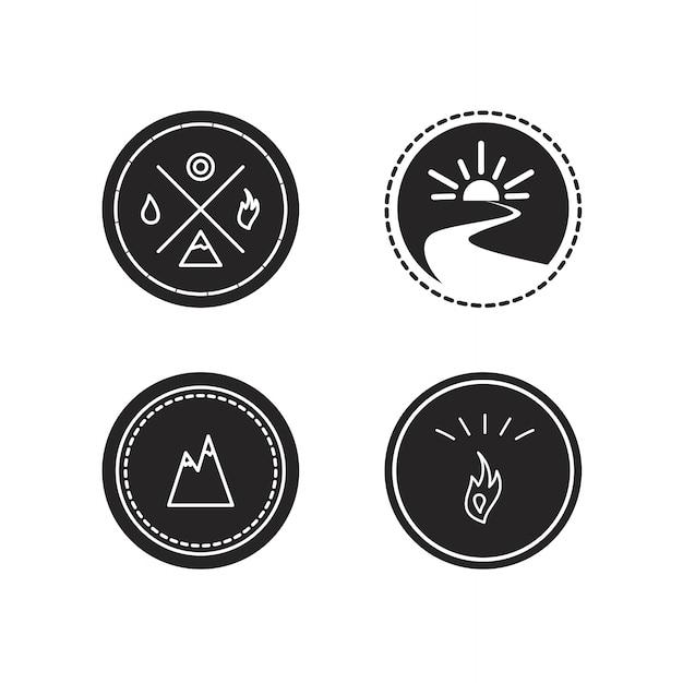 Insieme di vettore dei logotipi di ecologia, icona e simbolo della natura Vettore Premium