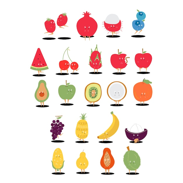 Insieme di vettore dei personaggi dei cartoni animati della frutta tropicale Vettore gratuito