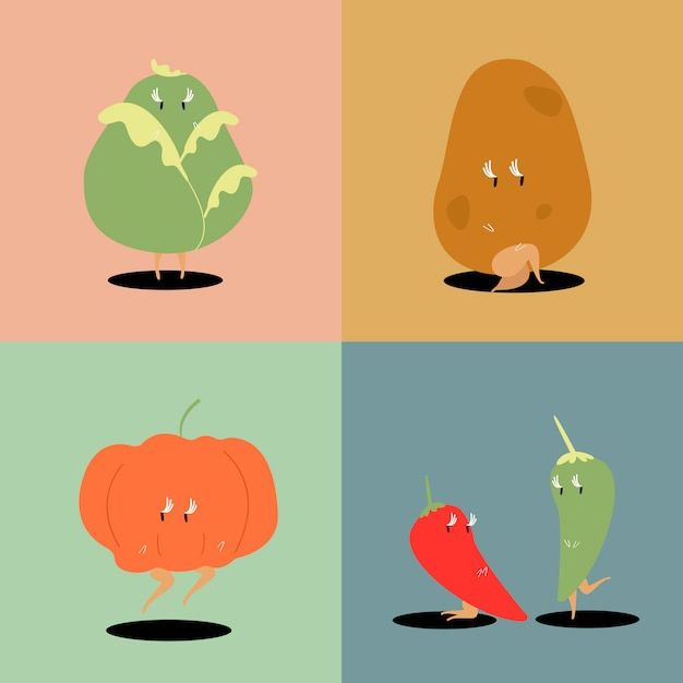 Insieme di vettore dei personaggi dei cartoni animati della verdura fresca Vettore gratuito