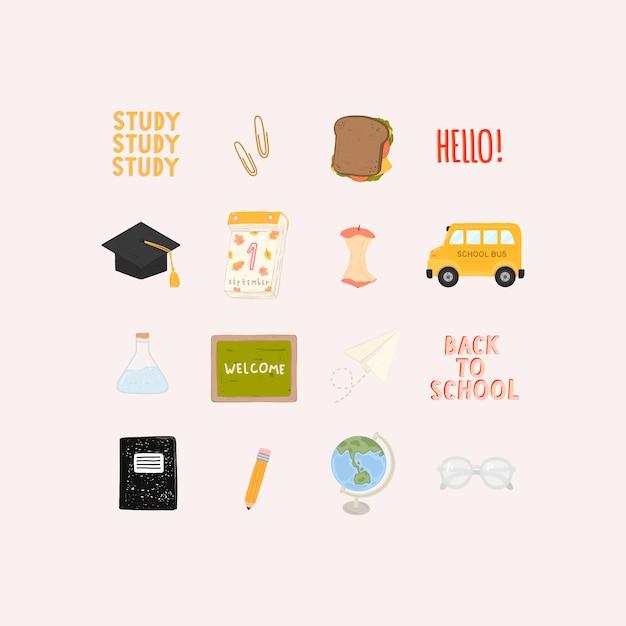 Insieme di vettore dei rifornimenti di scuola isolati. elementi di back to school in stile disegnato a mano. Vettore Premium