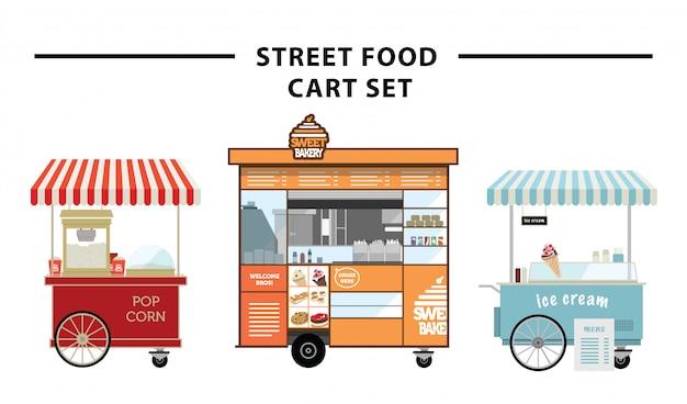 Insieme di vettore del carrello di cibo di strada Vettore Premium