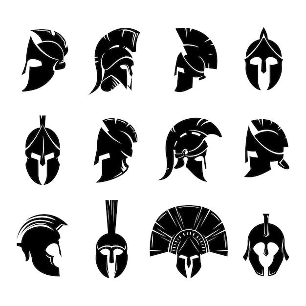Insieme di vettore del casco spartano Vettore Premium