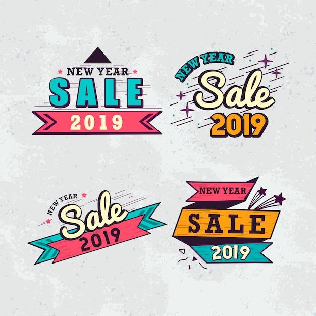 Insieme di vettore del distintivo di vendita del nuovo anno 2019 Vettore gratuito