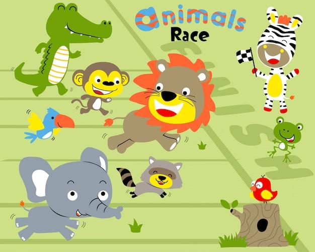Insieme di vettore del fumetto della corsa degli animali Vettore Premium