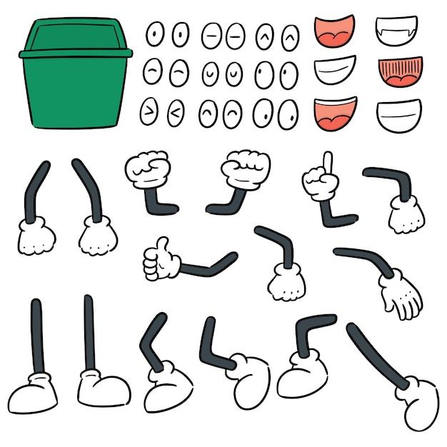 Insieme di vettore del fumetto di immondizia di riciclare Vettore Premium