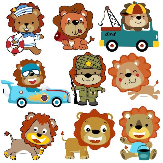 Insieme di vettore del fumetto di leoni Vettore Premium