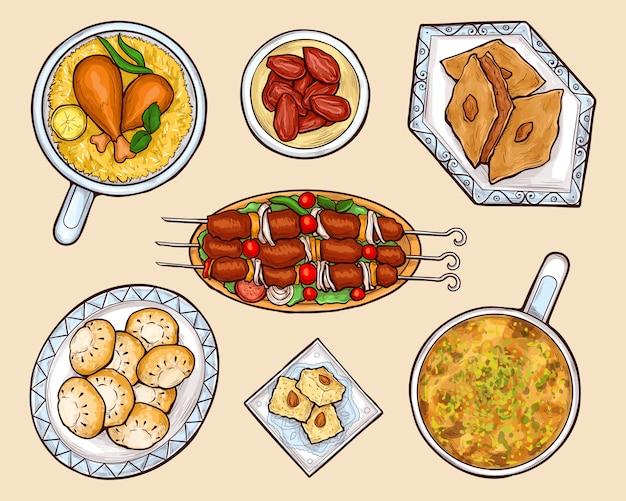 Insieme di vettore del fumetto di piatti di cucina orientale Vettore gratuito