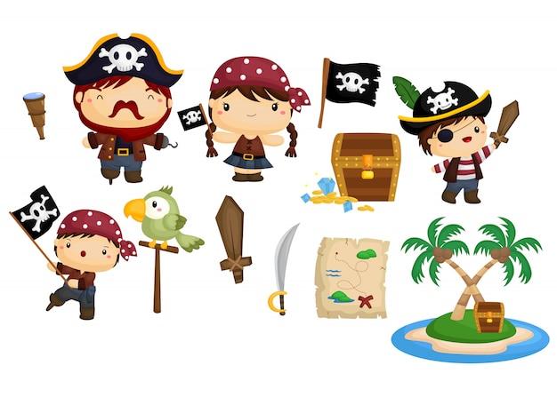 Insieme di vettore del pirata Vettore Premium