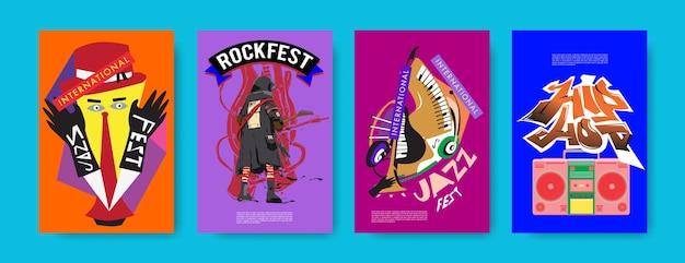 Insieme di vettore del poster di musica per l'evento Vettore Premium