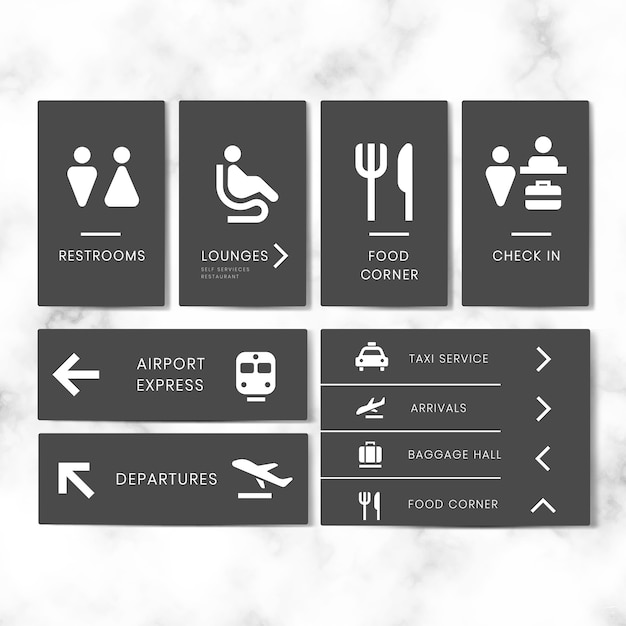 Insieme di vettore dell'icona dei segni dell'aeroporto Vettore gratuito