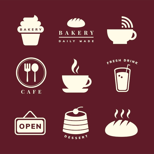 Insieme di vettore dell'icona della caffetteria Vettore gratuito