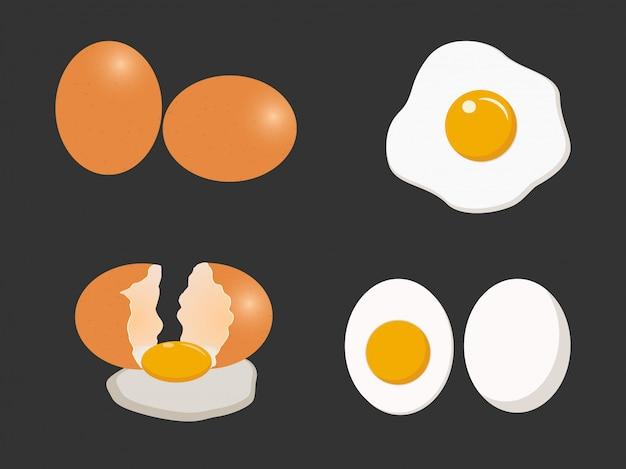 Insieme di vettore dell'uovo Vettore Premium