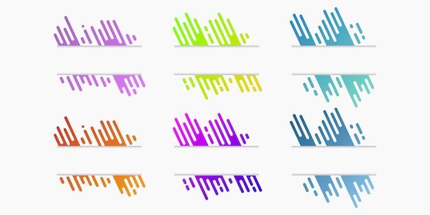 Insieme di vettore delle bandiere di carta tagliata con linee arrotondate gradiente dinamico Vettore Premium
