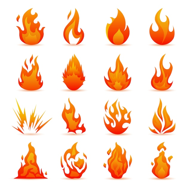 Insieme di vettore delle icone di fuoco e fiamma. fiamme colorate in stile piatto. semplice, icone bonfire Vettore Premium