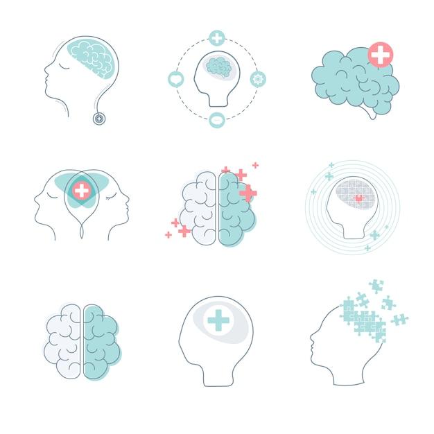 Insieme di vettore delle icone di salute mentale e del cervello Vettore gratuito