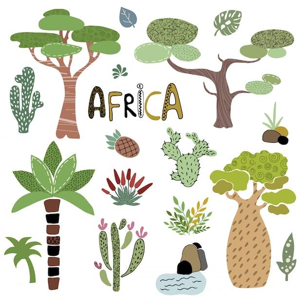 Insieme di vettore delle palme africane Vettore Premium