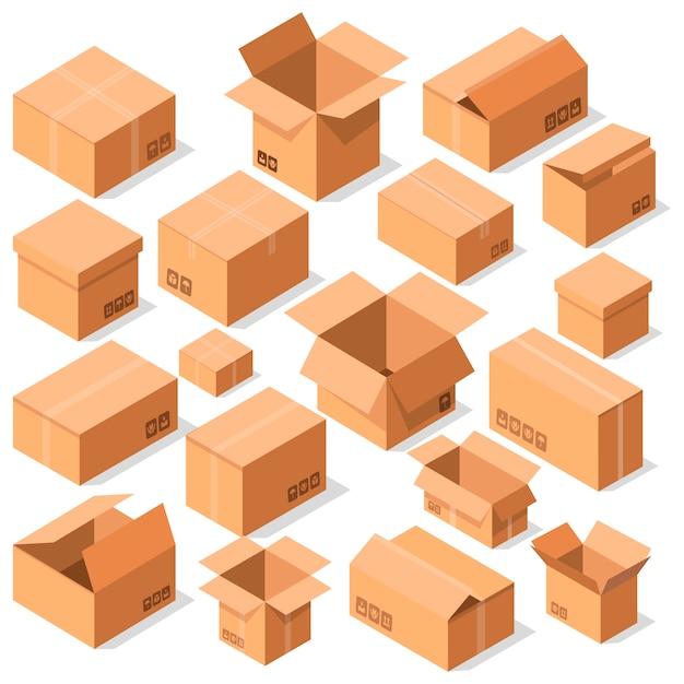 Insieme di vettore delle scatole di cartone aperto vuoto Vettore Premium